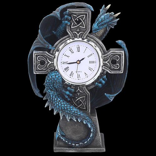 Draco Clock Blue Dragon Celtic Cross White Quartz clock face Roman Numerals