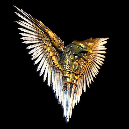 Blade Raven, Brilliant steampunk wall art, sword wings, spring neck