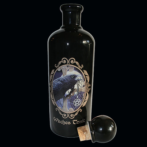 Witches Tonic Bottle decorative ceramic empty bottle with a black raven removable stopper
