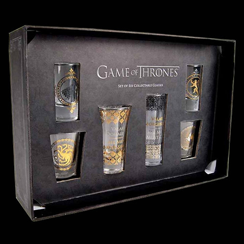 Official HBO Game of Thrones collectable set of 6 shot glass set 2 x 100ml 2 x 75ml 2 x 50ml