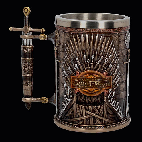 Official HBO Game of Thrones Iron Throne Tankard raised Iron Throne on both sides with GoT logo in the centre of each Throne
