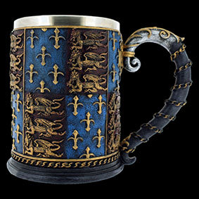 Medieval tankard inspired by the Royal Arms of Henry V at Agincourt and by Elizabeth I when defeating the Spanish Armada