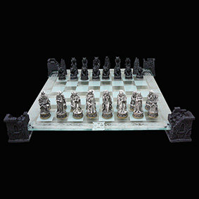 Vampire & Werewolf Chess Set glass chess board suspended in 4 gothic pillars ultimate gift for anyone into myths and legends