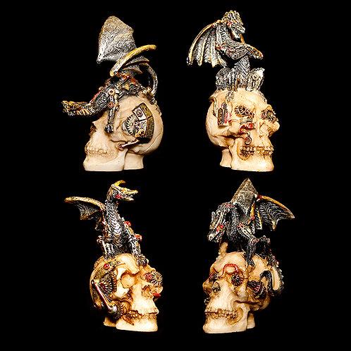 Mind Machines Set of 4 Steampunk Dragon's on Skulls