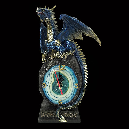 Cobalt Crystal Core Clock blue and gold dragon clock geode Celtic knot design