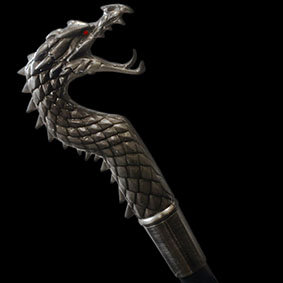 Dracane Swagger Stick serpent like dragon mouth open and piercing red eyes