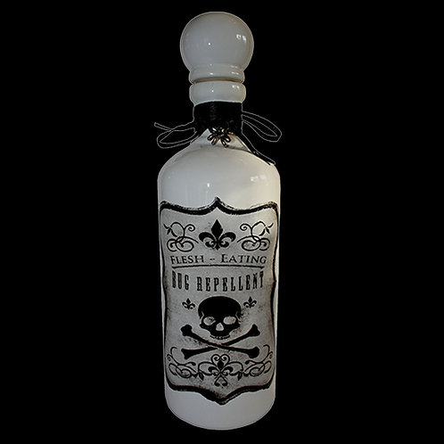 Flesh Eating Bug Repellent Bottle Ceramic Victorian style bottle and label witches brew potion