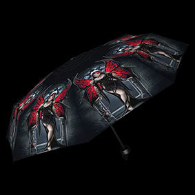 Aracnafaria Umbrella gothic fairy with red and black wings bearing a pattern reminiscent of a spider's web