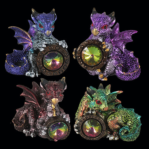 Dragon's gift set of 4 baby dragon each holding a precious gem