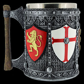 English Tankard 5 different heraldic shields sat on chainmail featuring rampant lions fleur-de-lis and the cross of St George