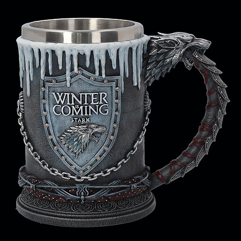 """Official HBO Game of Thrones House Stark Tankard """"Winter is Coming"""" removable insert for ease of cleaning"""