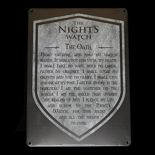 Official HBO Game of Thrones The Nights Watch A5 small tin sign