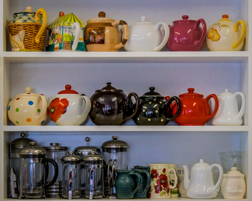 Teapots at Sunscone Cafe