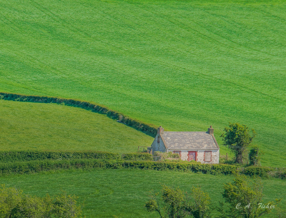 Irish Cottage in Green Field