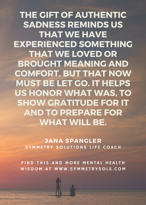 authentic sadness quote, from Jana Spangler