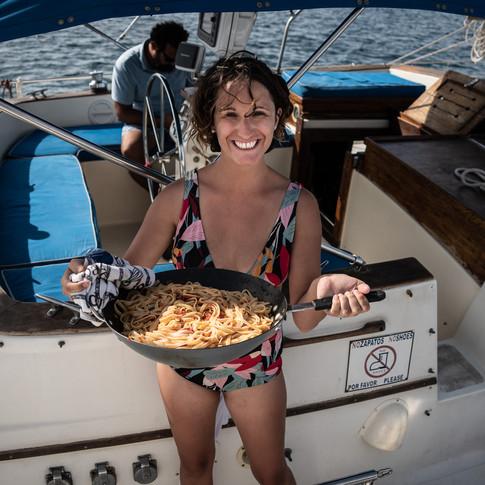 Pasta cocinada a bordo