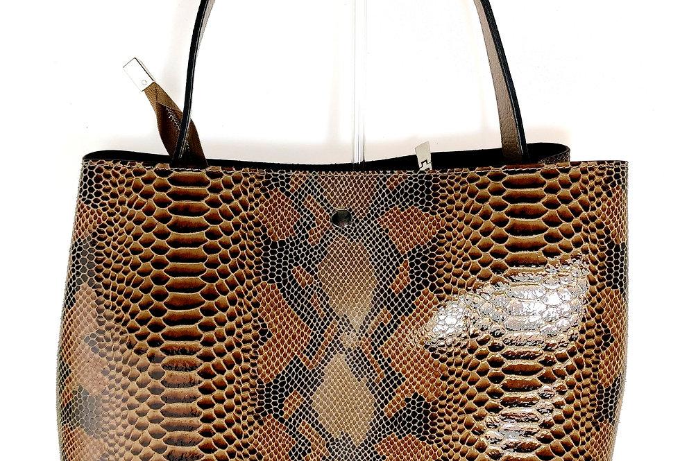 Elegancka duża torebka skórzana VEZZE z organizerem brązowa