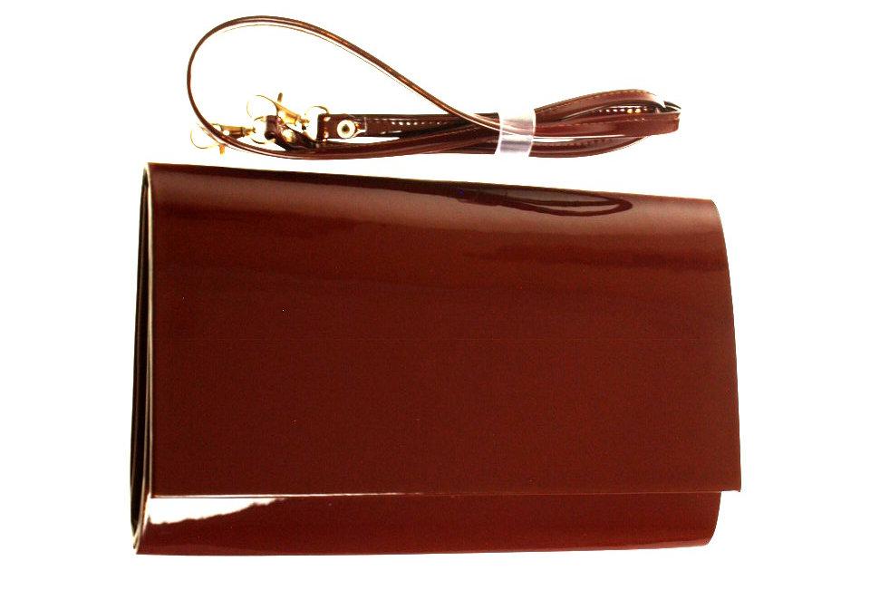 Kopertówka wizytowa lakierowana SAPAR brązowa