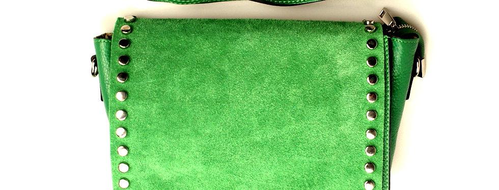 Listonoszka skórzana zamszowa VERA PELLE zielona