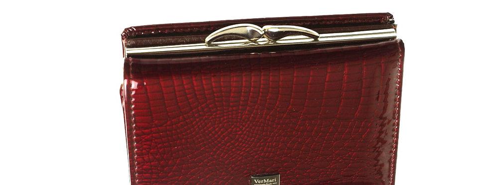 Portfel damski skórzany VERMARI podwójny bordowy lakierowany
