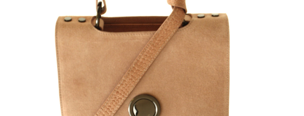 Luksusowy kuferek skórzany VEZZE pudrowy
