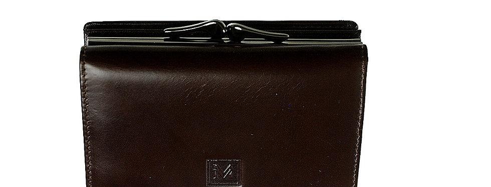 Portfel damski skórzany VERMARI podwójny brązowy