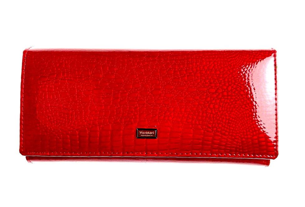Portfel damski skórzany VERMARI lakierowany czerwony