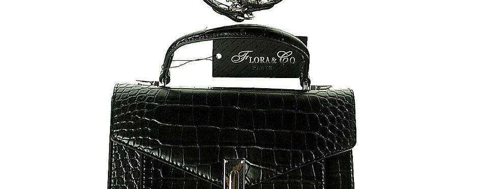 Torebka wizytowa FLORA & CO lakierowana czarna skóropodobna