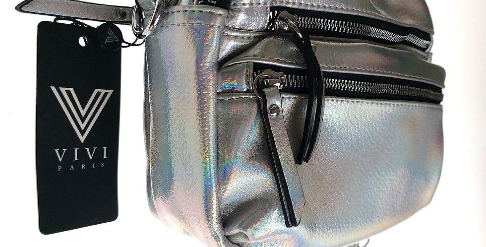 Młodzieżowa torebka VIVI srebrna skóropodobna