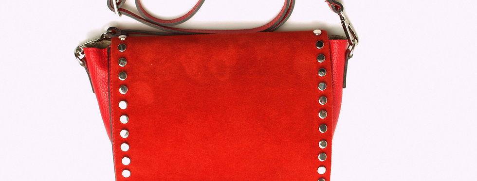 Listonoszka skórzana zamszowa VERA PELLE czerwień