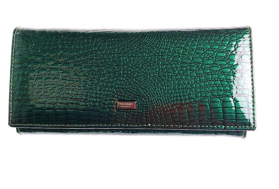 Portfel damski skórzany VERMARI lakierowany zielony