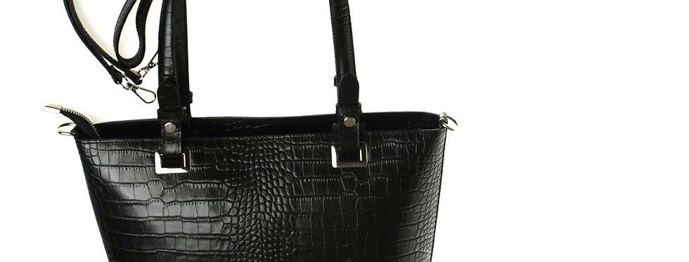 Elegancka torebka skórzana VEZZE czarna