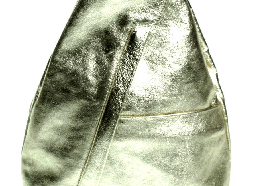 Torebko-Plecak skórzany BORSE IN PELLE złoty