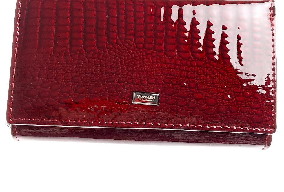 Portfel damski skórzany VERMARI lakierowany bordowy