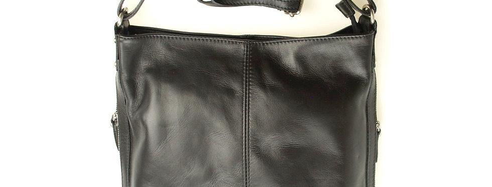 Włoska torebka skórzana duża czarna