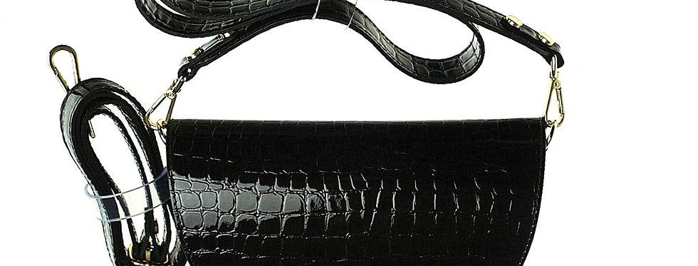 Przewieszka skórzana półksiężycowa tłoczona lakierowana czarna