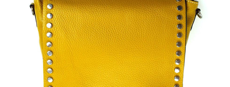 Listonoszka skórzana licowa VERA PELLE żółta