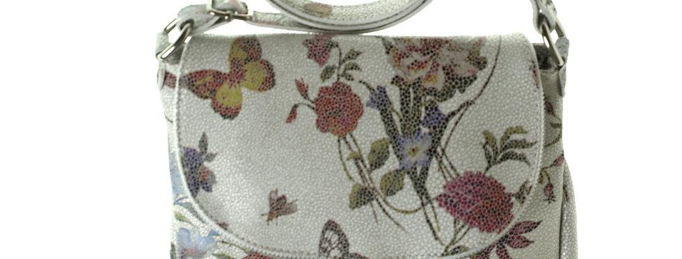 Włoska przewieszka skórzana BORSE IN PELLE kwiaty polne z motylkiem mała