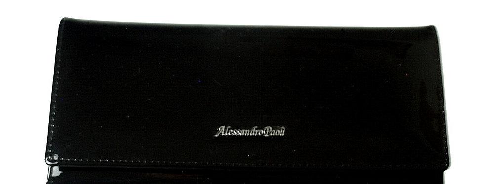 Portfel damski skórzany ALESANDRO PAOLI lakierowany czarny