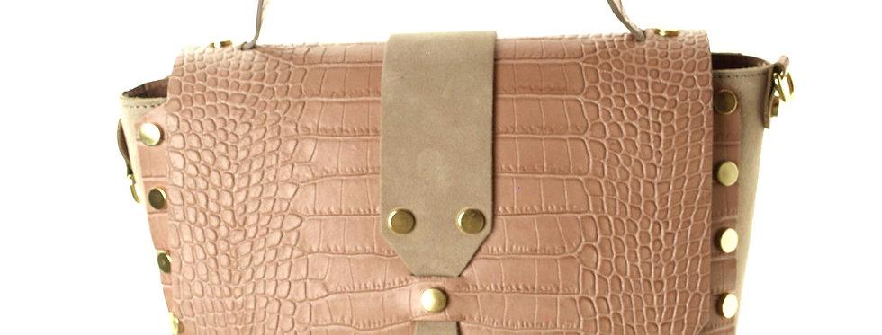 Włoska torebka skórzana Genuine Leather pudrowa