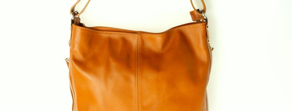 Włoska torebka skórzana duża pamarańczowa