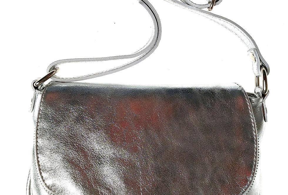 Włoska przewieszka skórzana BORSE IN PELLE srebrna mała