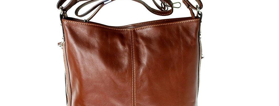 Włoska torebka skórzana duża brązowa