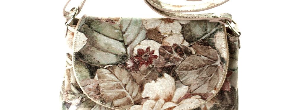 Włoska przewieszka skórzana BORSE IN PELLE jasne kwiaty mała
