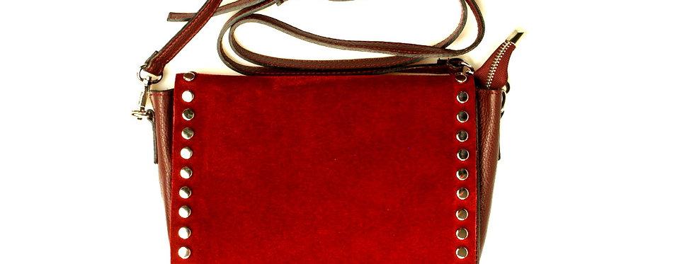 Listonoszka zamszowa skórzana vera pelle czerwona
