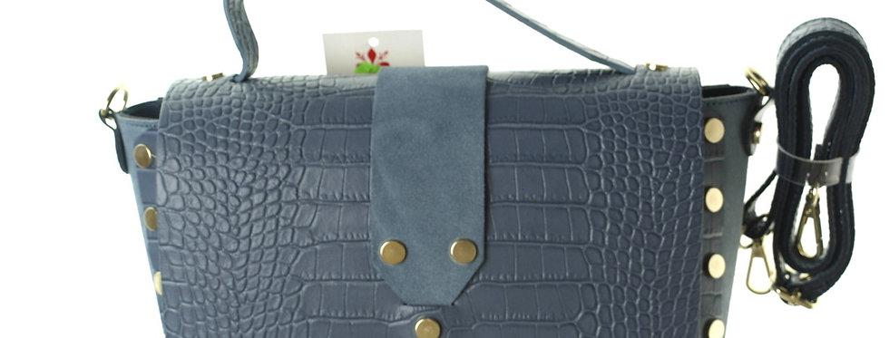 Włoska torebka skórzana Genuine Leather błękitna