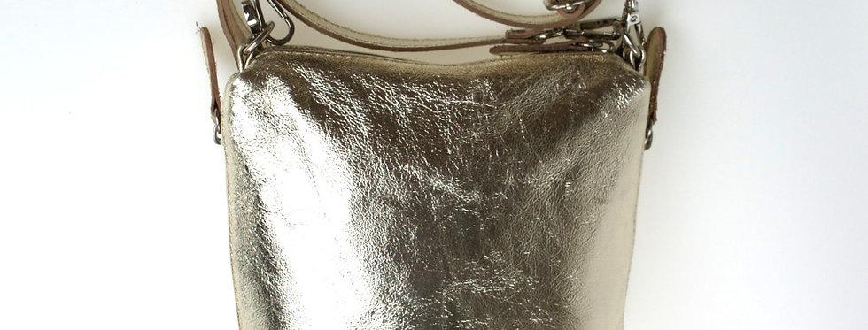 Przewieszka skórzana MIKO złota (mała)
