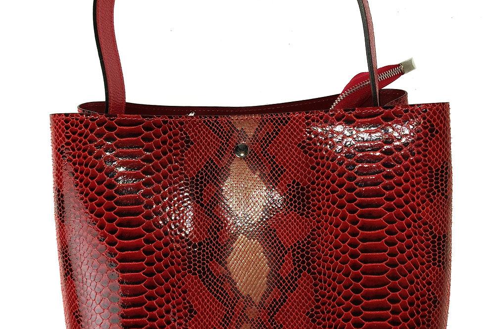 Elegancka duża torebka skórzana VEZZE z organizerem czerwona
