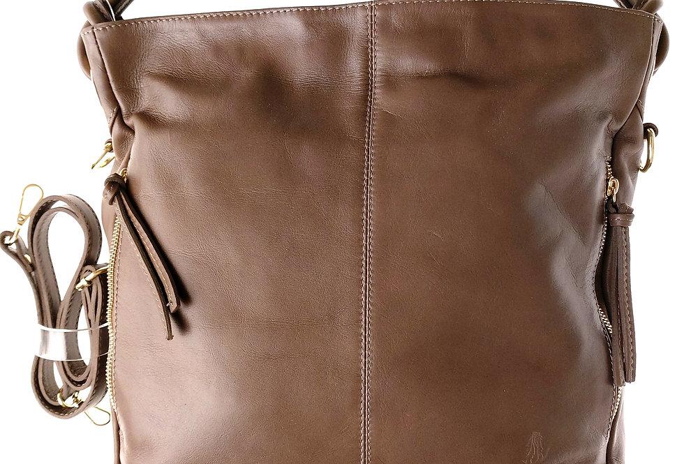 Torebka  VEZZE z luksusowej miękkiej skóry brązowa