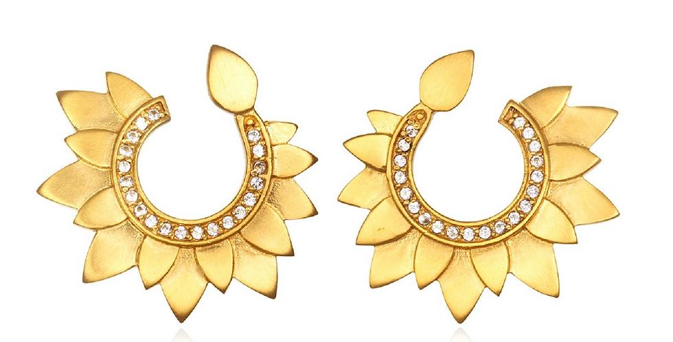 Gold Petal Swirl Earring